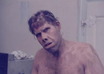 Ron Perlman dopo il make up di Manlio Rocchetti