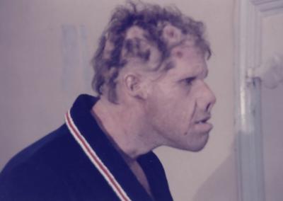 Ron Perlman dopo il make up di Manlio Rocchetti per il Nome della Rosa