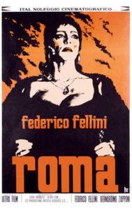 Locandina del film Roma di Fellini con parrucche Rocchetti